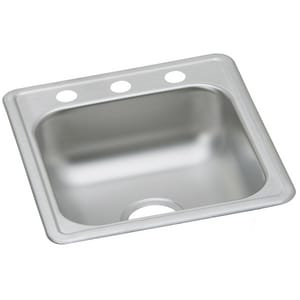 17 x 19 in. 3-Hole Single Bowl Bar Sink Stainless Steel