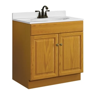 31-1/2 x 30 x 18 in. Vanity Base Cabinet in Honey Oak