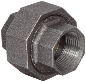1 in. 150# Ground Joint Iron and Brass Black Malleable Union